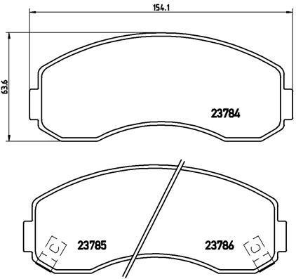 KIA K2500 2020 Bremsbelagsatz - Original BREMBO P 99 003 Höhe: 63,6mm, Breite: 154,1mm, Dicke/Stärke: 15,5mm