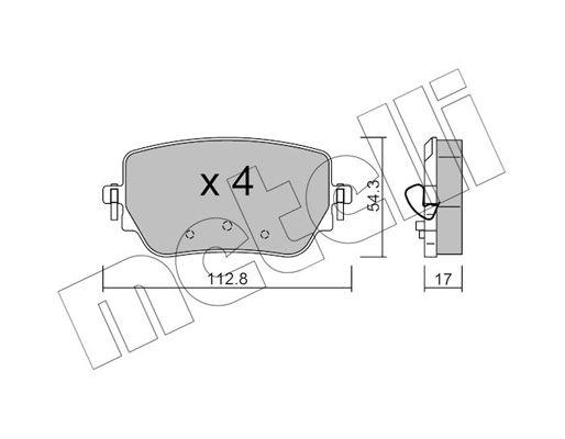 Bremsklötze Mercedes W177 hinten + vorne 2019 - METELLI 22-1196-0 (Dicke/Stärke 1: 17,0mm)