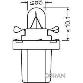 2721MFX OSRAM ORIGINAL Sockelglühlampe, 12V, 1,2W Glühlampe, Innenraumleuchte 2721MFX günstig kaufen