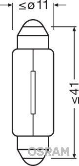 6411 OSRAM ORIGINAL 12V 10W, Socket Bulb, SV8,5-8 Bulb 6411 cheap