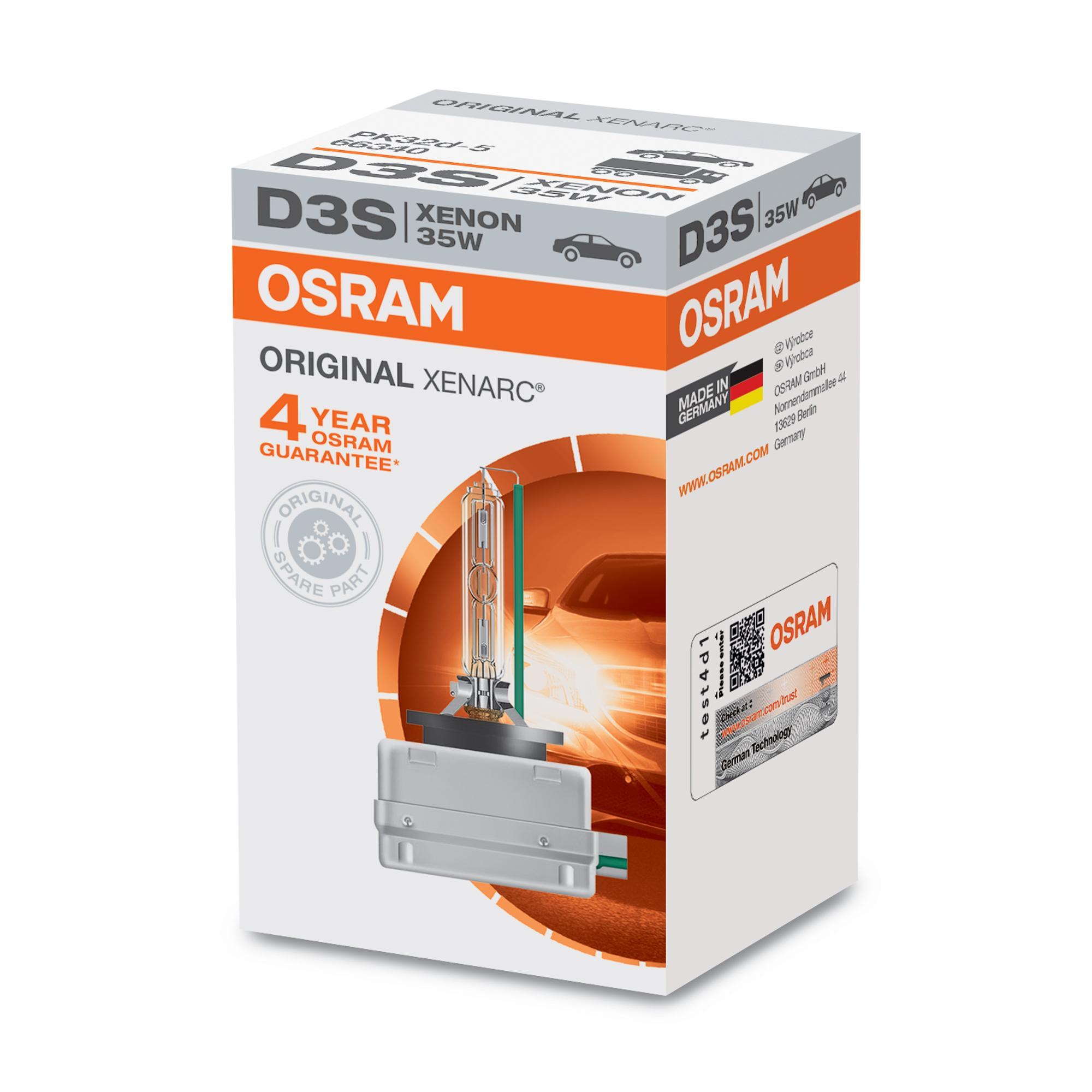 Køb D3S OSRAM XENARC ORIGINAL 35w, D3S (gasudladningspærer), 42V Pære, fjernlys 66340 billige