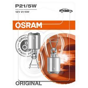 Achat de P215W OSRAM ORIGINAL P21/5W, BAY15d, 12V, 21/5W Ampoule, feu clignotant 7528-02B pas chères