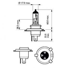 Gloeilamp, verstraler PHILIPS Vision 12V, 60/55W, H4