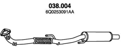 Original Främre ljuddämpare 038.004 Seat