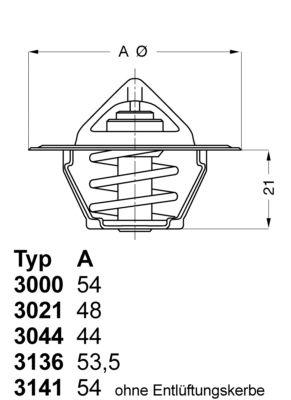 OE Original Thermostat 3021.88D50 WAHLER