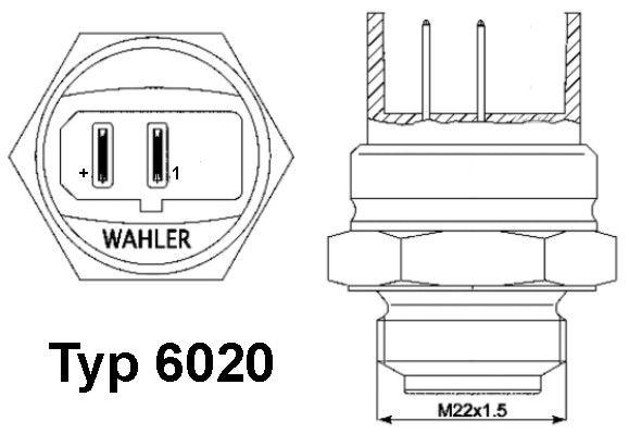 Original AUDI Temperaturschalter, Kühlerlüfter 6020.95D