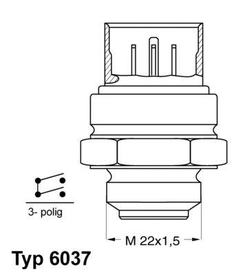 Original AUDI Thermoschalter Lüfter 6037.95D