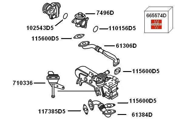 710336 Вакуум контролен клапан, рециркулация на изгорелите газове WAHLER - на по-ниски цени