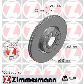 100.3300.20 Disco de freno ZIMMERMANN - Productos de marca económicos