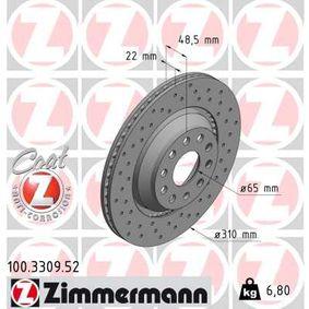 100.3309.52 Brake Disc ZIMMERMANN - Cheap brand products