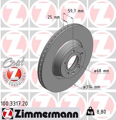 ZIMMERMANN Bremsscheibe 100.3317.20