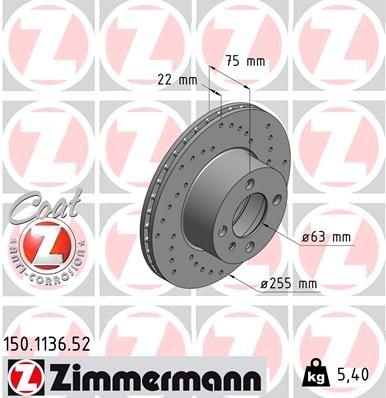 Zimmermann 100.3358.52 Bremsscheibe SPORT-BREMSSCHEIBE COAT Z