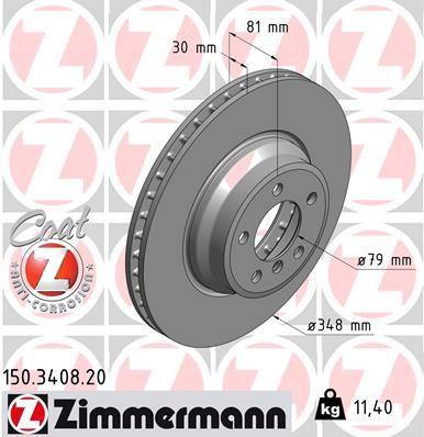 Купете 150.3408.20 ZIMMERMANN COAT Z вътрешновентилиран, с покритие, високовъглеродна Ø: 348мм, джанта: 5-дупки, дебелина на спирачния диск: 30мм Спирачен диск 150.3408.20 евтино