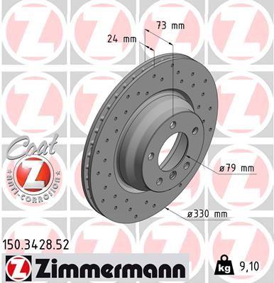 Спирачен диск 150.3428.52 от ZIMMERMANN