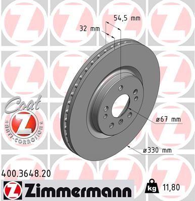 Купете 400.3648.20 ZIMMERMANN COAT Z вътрешновентилиран, с покритие, високовъглеродна Ø: 330мм, джанта: 5-дупки, дебелина на спирачния диск: 32мм Спирачен диск 400.3648.20 евтино