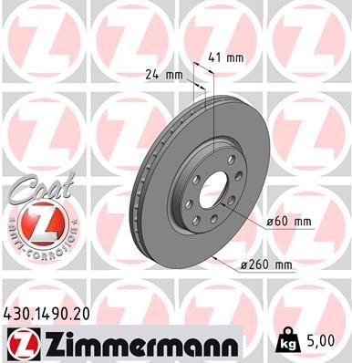 2ZIMMERMANN Bremsscheiben Coat-Z OPEL Corsa C Tigra Twintop 260 mm
