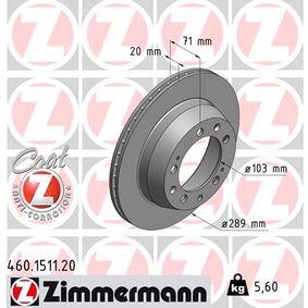 460.1511.20 ZIMMERMANN COAT Z Innenbelüftet, beschichtet Ø: 289mm Bremsscheibe 460.1511.20 günstig kaufen