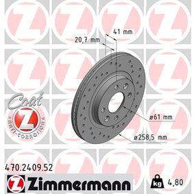 470.2409.52 ZIMMERMANN SPORT COAT Z Innenbelüftet, Gelocht, beschichtet Ø: 259mm Bremsscheibe 470.2409.52 günstig kaufen