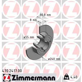 470.2417.00 ZIMMERMANN Voll, ohne Radlager, ohne ABS-Sensorring Ø: 240mm Bremsscheibe 470.2417.00 günstig kaufen
