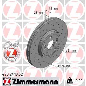 470.2418.52 ZIMMERMANN SPORT COAT Z außenbelüftet, Gelocht, beschichtet, hochgekohlt Ø: 324mm Bremsscheibe 470.2418.52 günstig kaufen