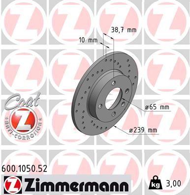 ZIMMERMANN 600.1050.52 (Ø: 239mm, Jante: 4Trou, Épaisseur du disque de frein: 10mm) : Disques de frein VW Polo 86c 1992