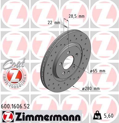 Купете 600.1606.52 ZIMMERMANN SPORT COAT Z външно вентилиран, надупчен, с покритие Ø: 280мм, джанта: 5-дупки, дебелина на спирачния диск: 22мм Спирачен диск 600.1606.52 евтино