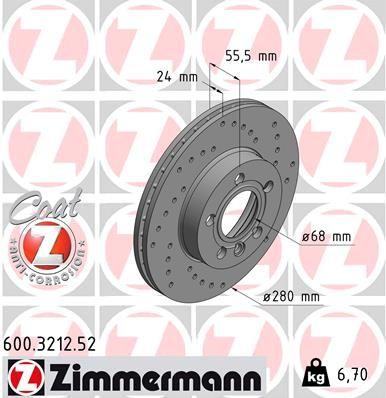 Bremsscheiben ZIMMERMANN 600.3212.52