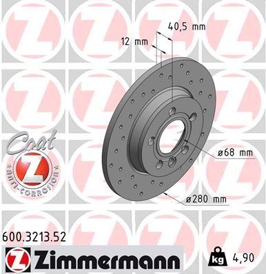 Bremsscheibe ZIMMERMANN 600.3213.52