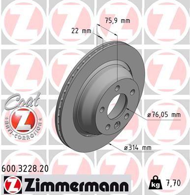 Scheibenbremsen ZIMMERMANN 600.3228.20