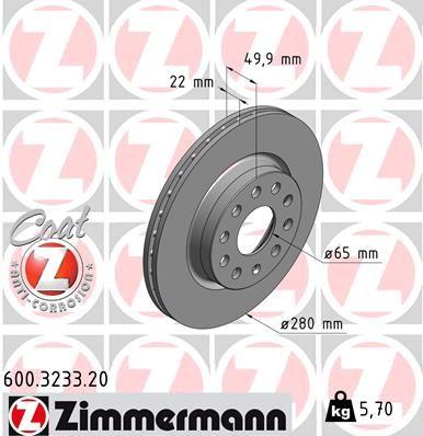600.3233.20 Brzdový kotouč ZIMMERMANN - Levné značkové produkty