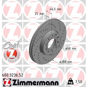 600.3236.52 ZIMMERMANN SPORT COAT Z außenbelüftet, Gelocht, beschichtet, hochgekohlt Ø: 288mm, Lochanzahl: 5, Bremsscheibendicke: 25mm Bremsscheibe 600.3236.52 günstig kaufen