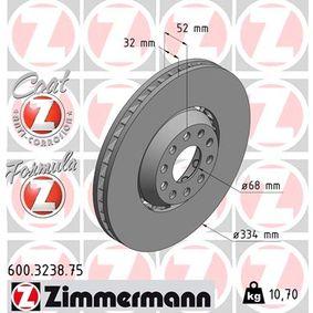 600.3238.75 ZIMMERMANN FORMULA Z COAT Z belüftet, Bremsscheibe zweiteilig, beschichtet, legiert/hochgekohlt Ø: 334mm, Lochanzahl: 5, Bremsscheibendicke: 32mm Bremsscheibe 600.3238.75 günstig kaufen