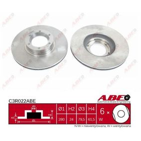 C3R022ABE ABE Vorderachse, belüftet, hochgekohlt Ø: 280mm, Lochanzahl: 6, Bremsscheibendicke: 24mm Bremsscheibe C3R022ABE günstig kaufen