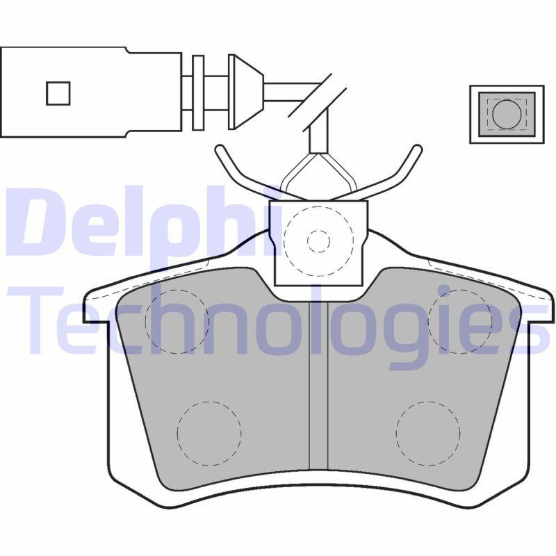 20961 DELPHI inkl. Verschleißwarnkontakt, mit integriertem Verschleißsensor Höhe 2: 53mm, Höhe: 53mm, Dicke/Stärke 1: 17mm, Dicke/Stärke 2: 17mm Bremsbelagsatz, Scheibenbremse LP1556 günstig kaufen