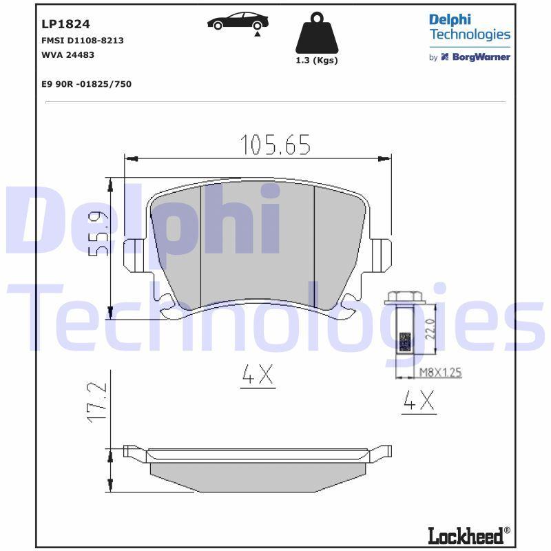 LP1824 Bremsbelagsatz, Scheibenbremse DELPHI Test