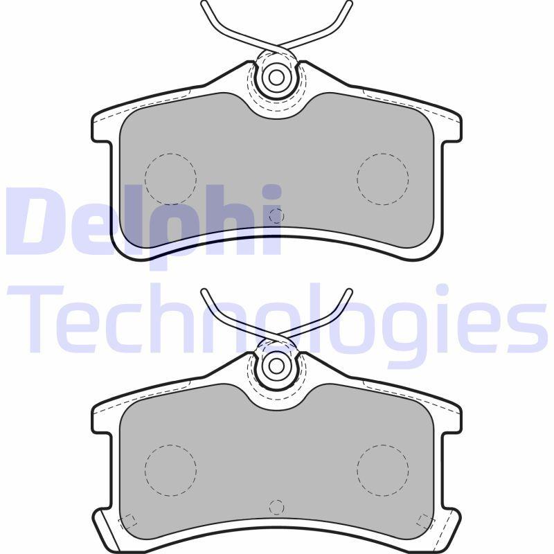 LP1917 DELPHI mit akustischer Verschleißwarnung, mit integriertem Verschleißsensor Höhe 2: 46mm, Höhe: 46mm, Dicke/Stärke 1: 15mm, Dicke/Stärke 2: 15mm Bremsbelagsatz, Scheibenbremse LP1917 günstig kaufen