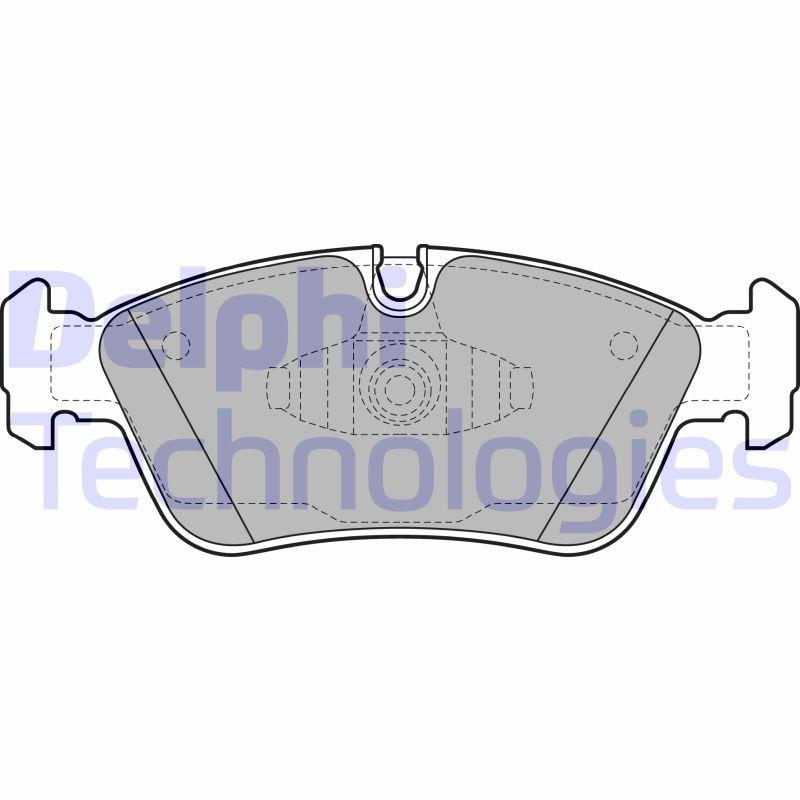 D12288347 DELPHI für Verschleißwarnanzeiger vorbereitet, ohne integrierten Verschleißsensor Höhe 1: 57mm, Höhe 2: 58mm, Breite 1: 149mm, Breite 2: 150mm, Dicke/Stärke 1: 18mm, Dicke/Stärke 2: 18mm Bremsbelagsatz, Scheibenbremse LP1925 günstig kaufen