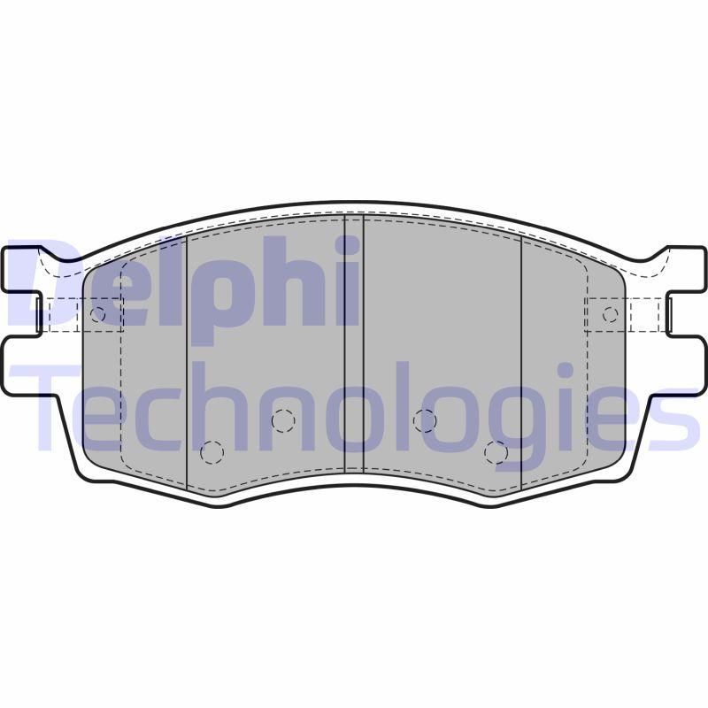 D1156 DELPHI mit akustischer Verschleißwarnung, mit integriertem Verschleißsensor Höhe 2: 56mm, Höhe: 56mm, Dicke/Stärke 1: 18mm, Dicke/Stärke 2: 18mm Bremsbelagsatz, Scheibenbremse LP1951 günstig kaufen