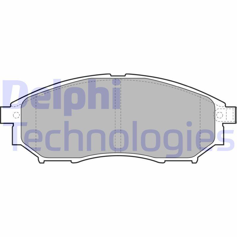 D8887766 DELPHI mit integriertem Verschleißsensor, mit akustischer Verschleißwarnung Höhe: 58mm, Dicke/Stärke 1: 17mm Bremsbelagsatz, Scheibenbremse LP2030 günstig kaufen