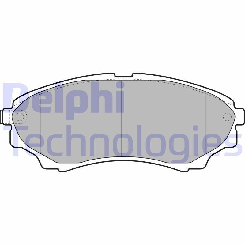 D15748784 DELPHI mit akustischer Verschleißwarnung, mit integriertem Verschleißsensor Höhe 1: 58mm, Höhe 2: 58mm, Breite 1: 145mm, Breite 2: 145mm, Dicke/Stärke 1: 16mm, Dicke/Stärke 2: 16mm Bremsbelagsatz, Scheibenbremse LP2036 günstig kaufen