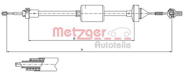 METZGER Seilzug, Kupplungsbetätigung 10.2842