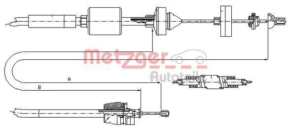 102844 METZGER Länge: 969/681mm, COFLE Seilzug, Kupplungsbetätigung 10.2843 günstig kaufen