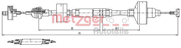 10.3144 METZGER Länge: 917mm, Nachstellung: mit manueller Nachstellung, COFLE für Linkslenker Seilzug, Kupplungsbetätigung 10.3144 günstig kaufen