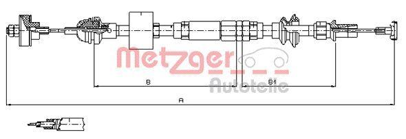 10.3159 METZGER Länge: 1073/833mm, Nachstellung: mit manueller Nachstellung, COFLE Seilzug, Kupplungsbetätigung 10.3159 günstig kaufen