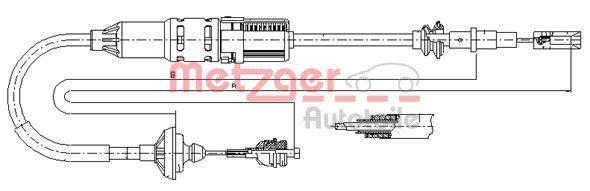 19209E METZGER Länge: 1300/985mm, Nachstellung: mit automatischer Nachstellung, COFLE Seilzug, Kupplungsbetätigung 10.3446 günstig kaufen