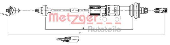 METZGER Seilzug, Kupplungsbetätigung 11.3049