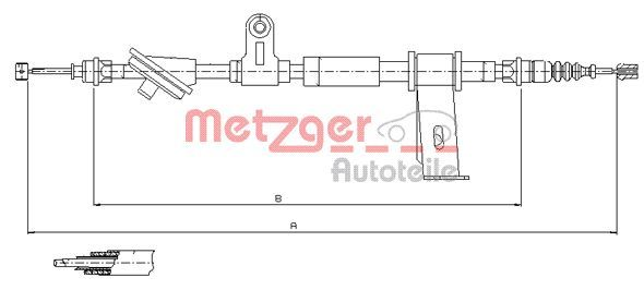 Vesz 12.0102 METZGER COFLE, bal, hátsó Hossz: 1755/1603mm Huzal, rögzítőfék 12.0102 alacsony áron