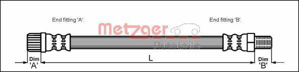 4111162 METZGER Länge: 311mm, Gewindemaß 1: M10 x 1, Gewindemaß 2: F10 x 1 Bremsschlauch 4111162 günstig kaufen