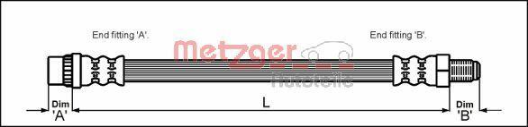 4111165 METZGER Länge: 322mm, Gewindemaß 1: M10 x 1, Gewindemaß 2: F10 x 1 Bremsschlauch 4111165 günstig kaufen