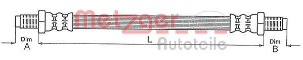 METZGER: Original Rohre und Schläuche 4111637 (Länge: 285mm, Gewindemaß 1: M10 x 1, Gewindemaß 2: M10 x 1)